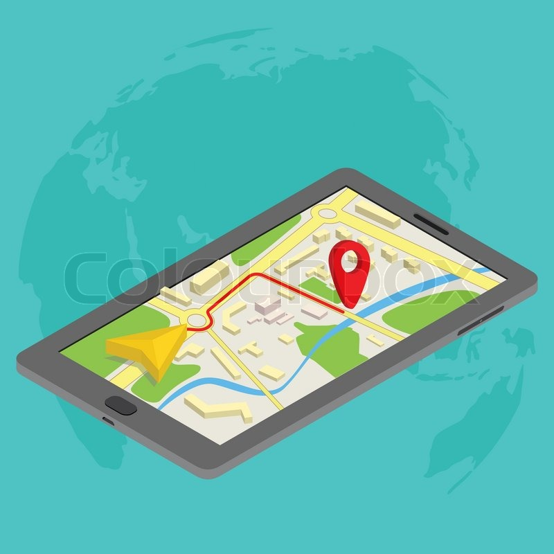 800x800 Flat 3d Isometric Mobile Gps Navigation Maps Infographic Concept