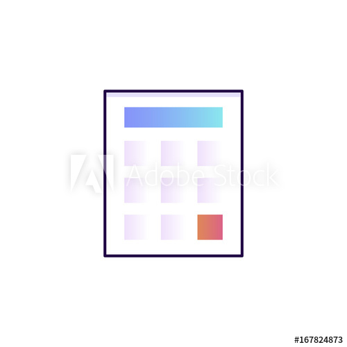 500x500 Isolated Flat Line Gradient Calculator Icon.