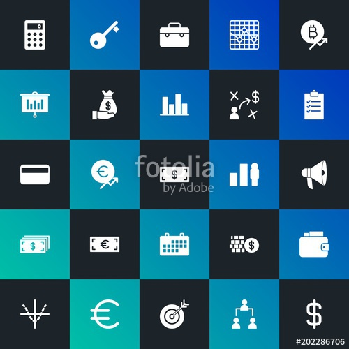 500x500 Modern Simple Set Of Business, Money, Charts Vector Fill Icons