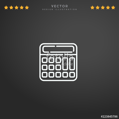 500x500 Outline Calculator Icon Isolated On Gradient Background, For