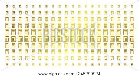 450x251 Calculator Icon Gold Halftone Pattern. Vector Calculator Shapes