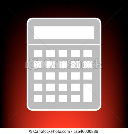 450x470 Calculator Simple Sign. Postage Stamp Or Old Photo Style On Red
