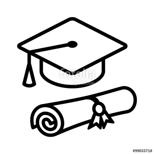 500x500 Graduation Cap Hat With Diploma Line Art Icon For Apps And