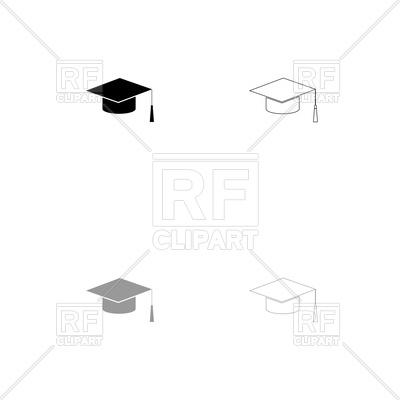 400x400 Graduation Cap Black And Grey Set Icon Vector Image Vector