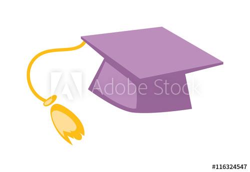 500x345 Graduation Cap Diploma Hat Icon Vector Illustration. University