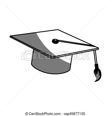 450x470 Graduation Cap Icon Over White Background. Vector Illustration.