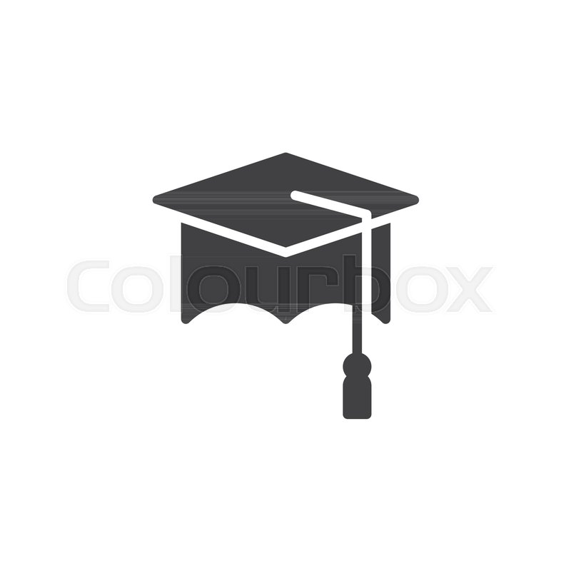 800x800 Graduation Cap Icon Vector, Filled Flat Sign, Solid Pictogram