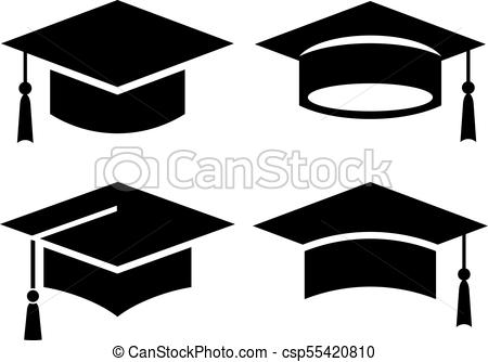 450x334 Black Square Graduation Hat Icons Set.