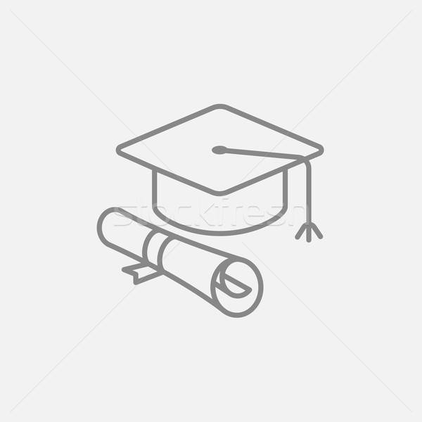 600x600 Graduation Cap With Paper Scroll Line Icon. Vector Illustration
