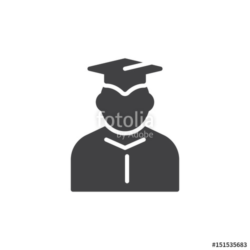 500x500 Student In Mantle And Graduation Cap Icon Vector, Filled Flat Sign