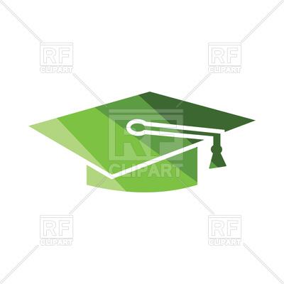400x400 Flat Design Of Green Graduation Cap Icon Vector Image Vector