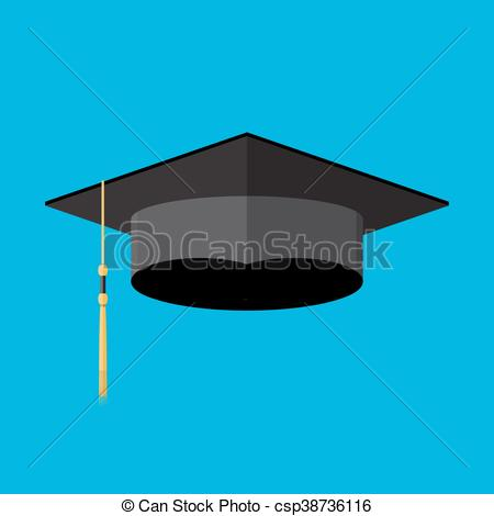 450x470 Academic Graduation Cap. Student Hat. Vector Illustration In Flay