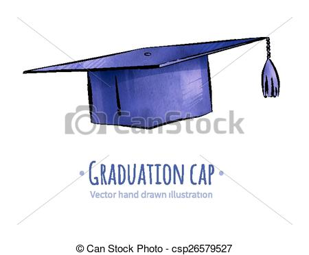 450x372 Graduation Cap. Mortarboard Graduation Cap. Hand Drawn Vector