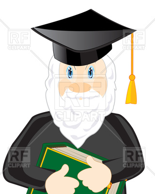 320x400 Cartoon Bearded Scientist With Book And Graduation Hat Vector