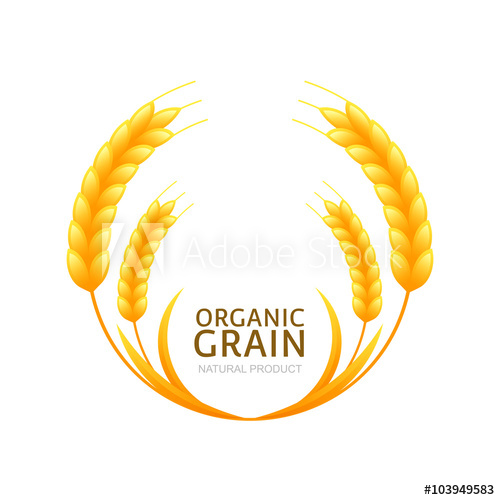 500x500 Circle Frame Of Wheat Or Rye Grain. Vector Logo Or Label Design