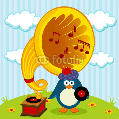 400x400 Penguin With A Gramophone Vector Illustration Wall Mural Faq