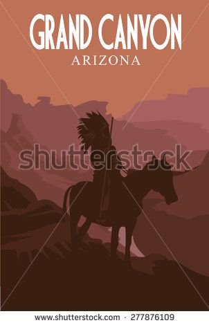 302x470 Grand Canyon National Park. Retro Poster. Vector Illustration