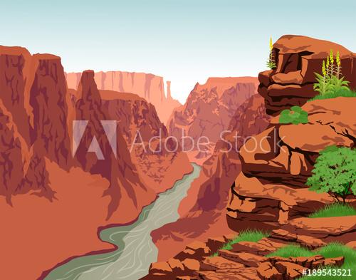 500x393 Vector Colorado River In Grand Canyon National Park