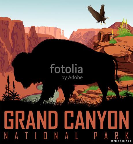461x500 Vector Colorado River In Grand Canyon National Park With Buffalo