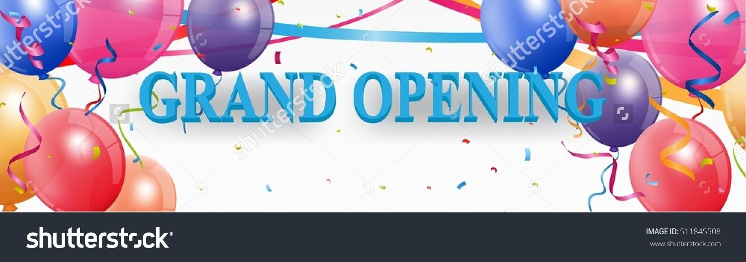 1500x528 Grand Opening Banner With Confetti Grand Opening Design