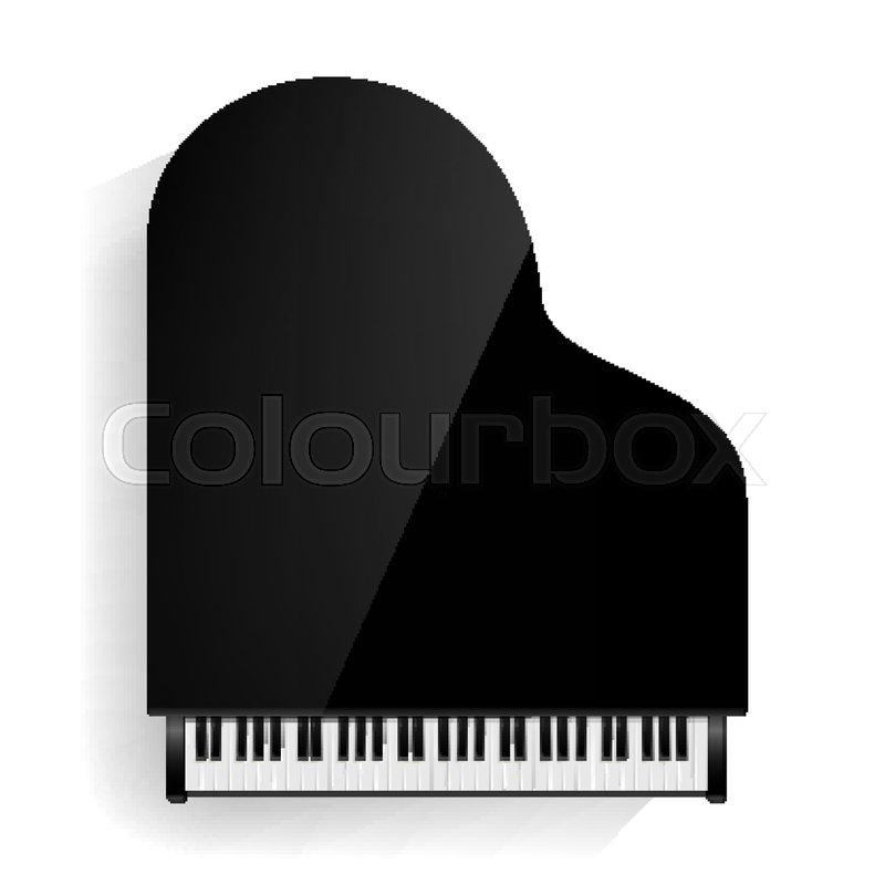 800x800 Grand Piano Vector. Realistic Black Grand Piano Top View. Isolated