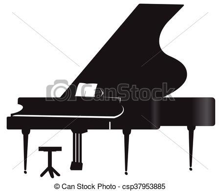 450x390 Silhouette Of A Grand Piano. Illustration Of Silhouette A Grand