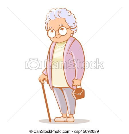 450x470 Portrait Of Grandmother. Portrait Of Cute Old Woman With Bag And