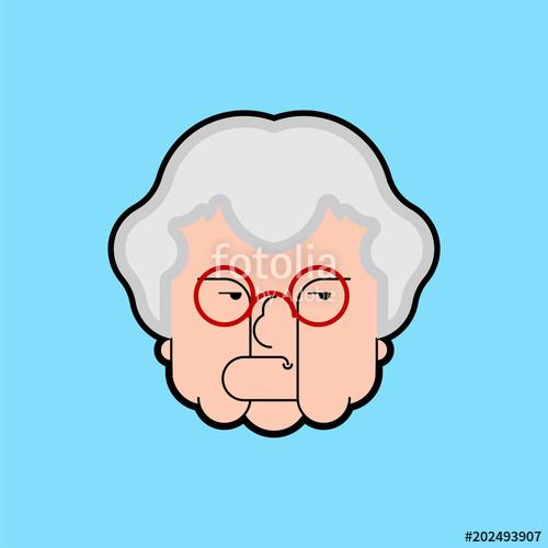 500x500 Evil Grandmother Old Hag. Bad Grandma. Old Lady Angry. Vector