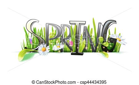 450x277 Spring Word With Flowers And Grass. Spring Word. Letters Made With