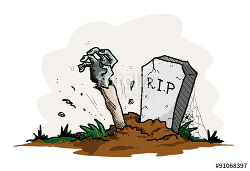 500x343 Grave Zombie, A Hand Drawn Vector Illustration Of A Grave With The