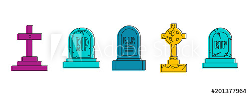 500x193 Grave Icon Set. Color Outline Set Of Grave Vector Icons For Web