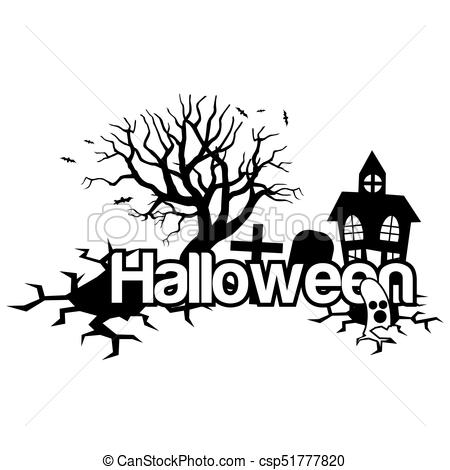 450x470 Halloween Vector Illustration With House,trees And Grave.