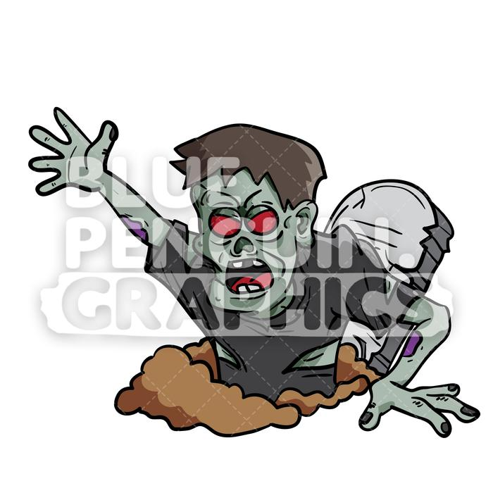 700x700 Crazy Zombie Grave Vector Cartoon Clipart Illustration Blue