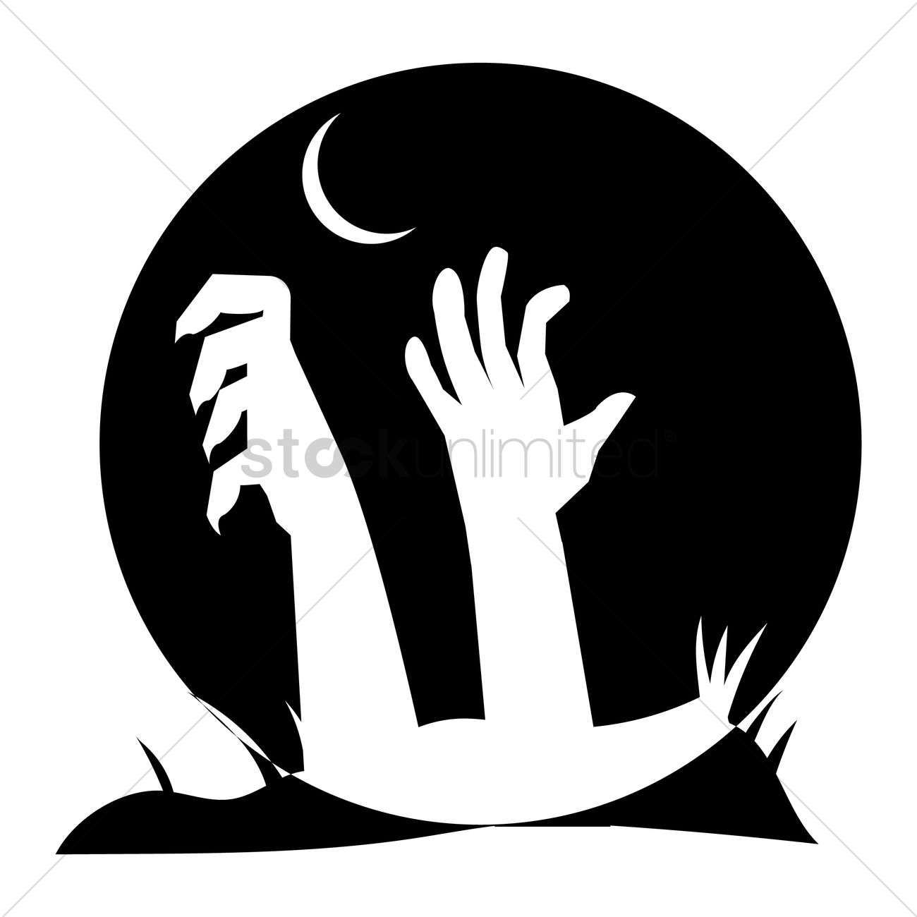 1300x1300 Silhouette Of Hands Coming Out From Grave Vector Image