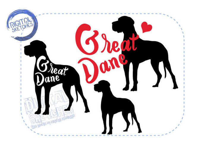 690x488 Great Dane Dog Set Cut File Animals By Digital Sketches On Zibbet
