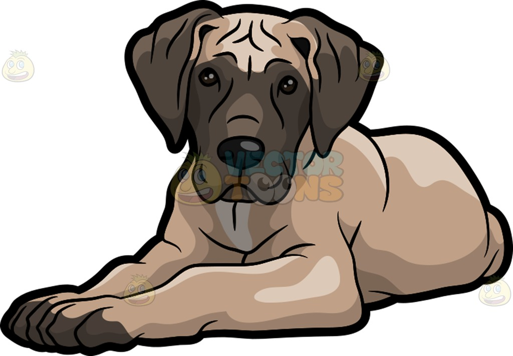 1024x710 A Tired Great Dane Dog Clipart By Vector Toons