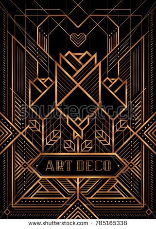 321x470 The Great Gatsby Deco Style Vector, Golden Roses And Heart, Art