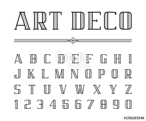 500x417 Vector Of Art Deco Font And Alphabet, Condensed Letters Set. The