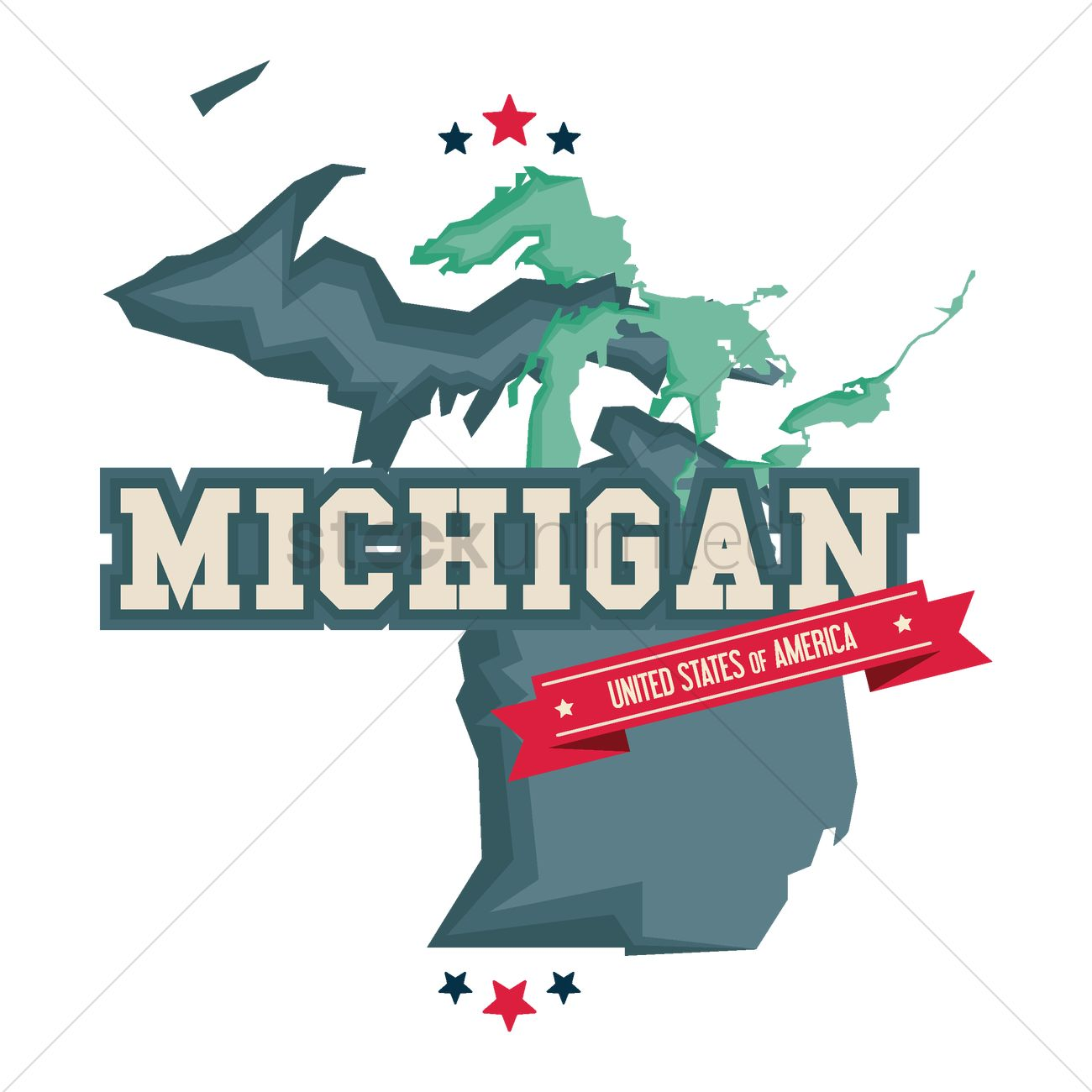 1300x1300 Michigan Map With The Great Lakes Vector Image