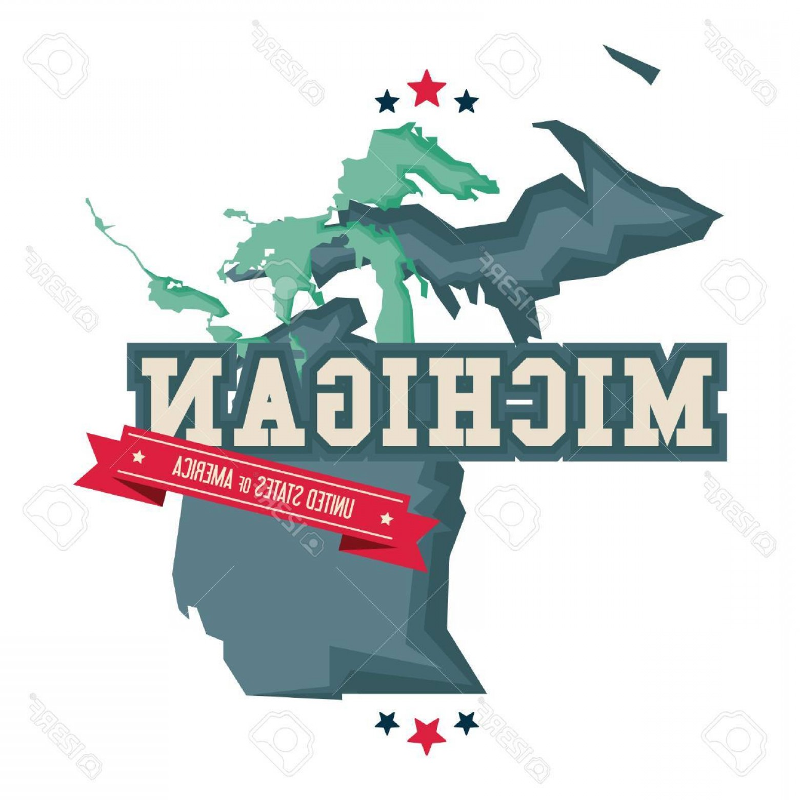 1560x1560 Photostock Vector Michigan Map With The Great Lakes Createmepink