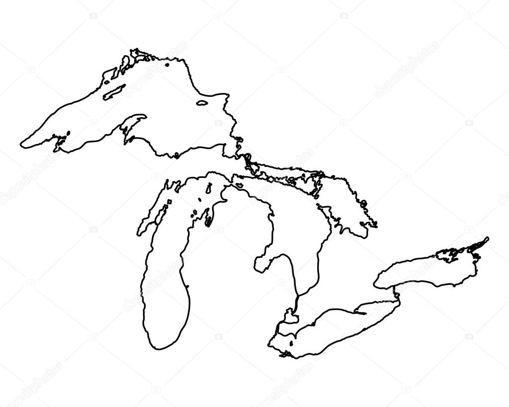 1024x819 Blank Map Of Great Lakes Map Of Great Lakes Stock Vector