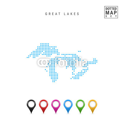 400x400 Dots Pattern Vector Map Of All The Great Lakes. Stylized Simple