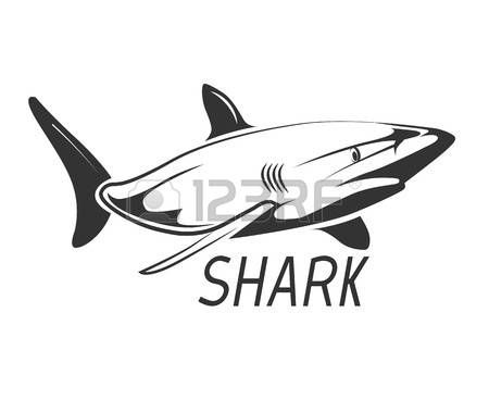 450x368 Great White Shark Shark Icon In Black Isolated On White. Graphic