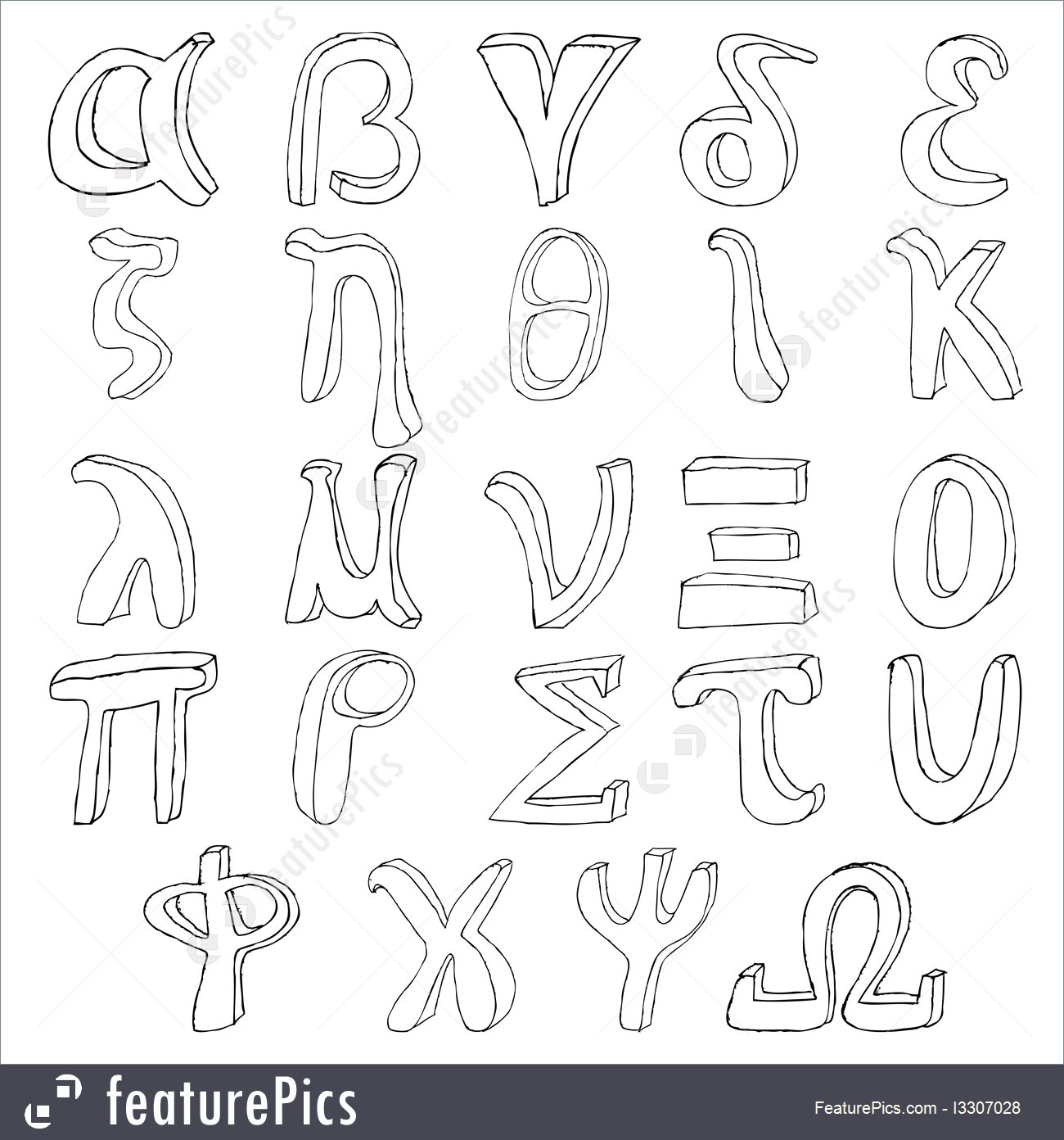 1300x1392 Letters And Numbers Hand Drawing Greek Alphabet