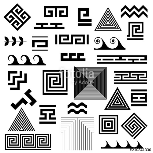 500x500 Greek Key. Typical Egyptian, Assyrian And Greek Motives Vector