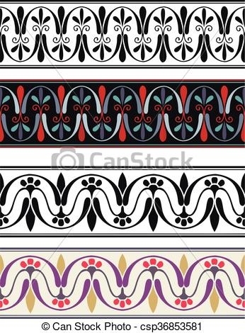 346x470 Set Antique Greek Ornaments. Seamless Pattern Of Antique Greek