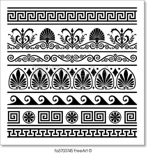 561x581 Free Art Print Of Set Of Vector Antique Greek Borders. Collection