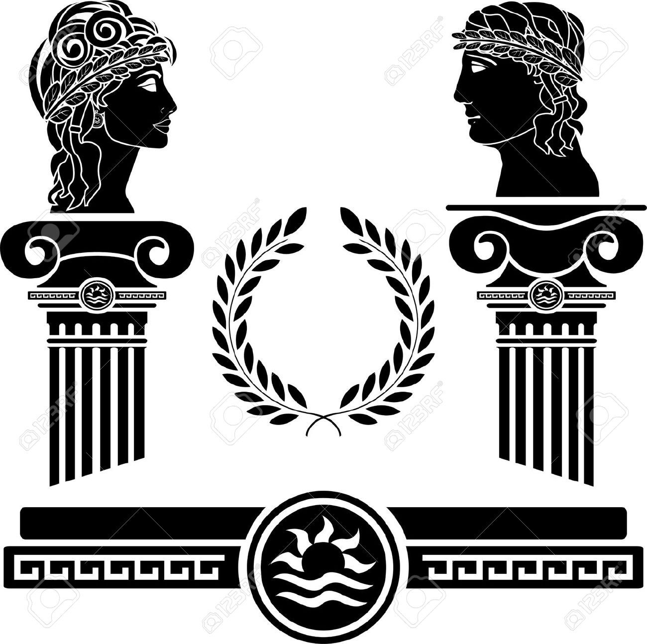 1300x1294 Greek Columns And Human Heads. Vector Illustration Greek Design