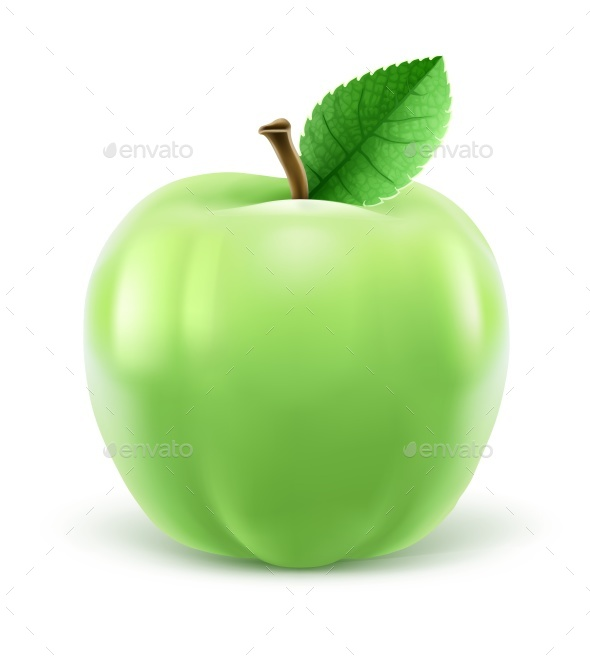 590x664 Green Apple With Leaf Vector Illustration By Loopall Graphicriver