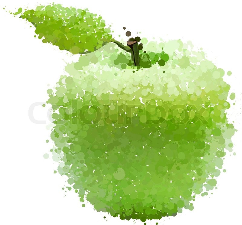 800x745 Green Apple With Leaf Of Blots Vector Isolated On White Stock